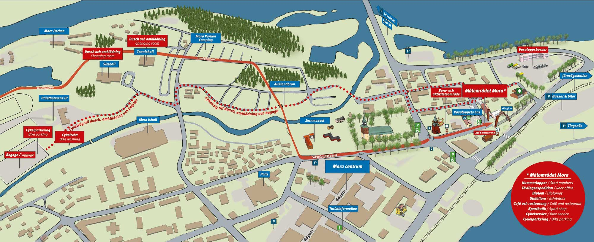 Site map - The finish area Mora - bike races