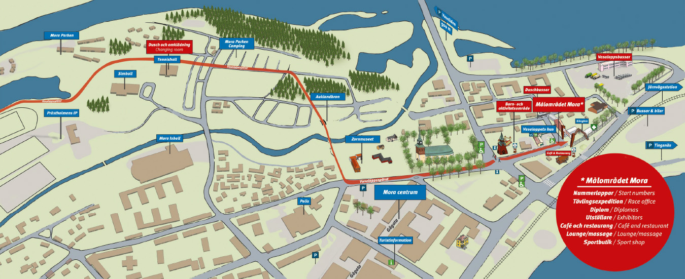 Site map – The finish area Mora – running