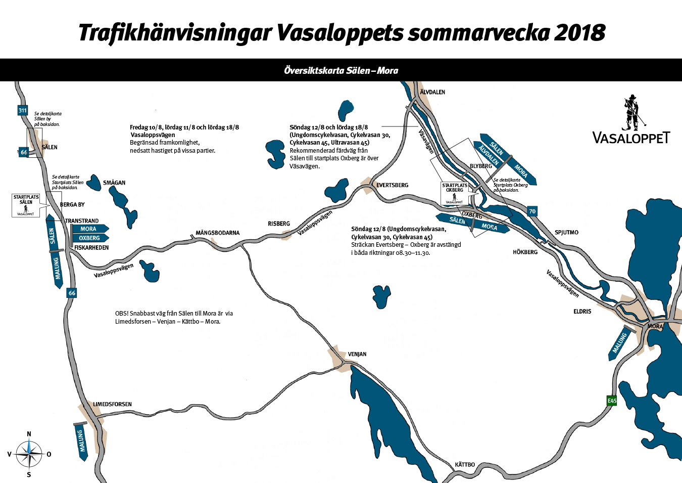 Traffic map Vasaloppet's Summer Week part 1 of 2